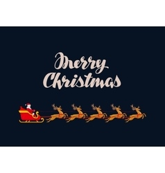 Merry Christmas greeting card Rides Santa Claus vector image