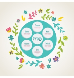 Passover seder plate with floral decoration vector image vector image