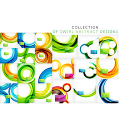 set of bright color wave templates vector image