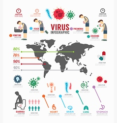 Infographic virus icons set template design vector image vector image
