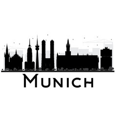 Munich City skyline black and white silhouette vector image vector image