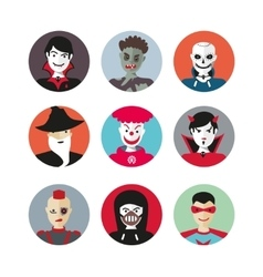 Scary heroes for Halloween Flat cartoon icons set vector image