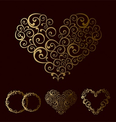 Tracery wedding love heart vector