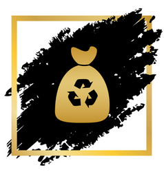 trash bag icon golden icon at black spot vector image vector image