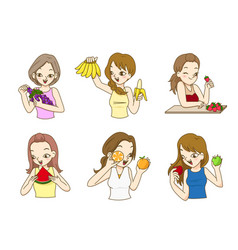 beautiful ladies holding fresh fruits vector image