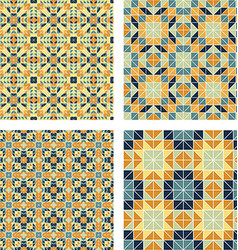 Colorful triangle mosaic pattern background set vector