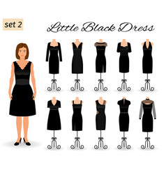 fashion woman character in little black dress set vector image vector image