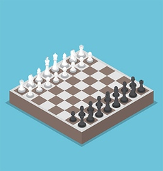 Isometric chess piece or chessmen with board vector