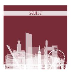 seville white transparent skyline silhouette vector image