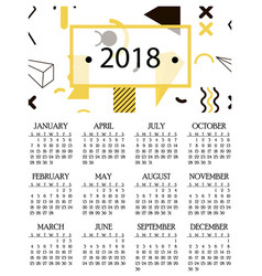 simple calendar for 2018 and 2019 2020 years vector image