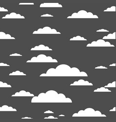 white cloud on gray background seamless pattern vector image vector image