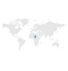 algeria marked by blue in grey world political map vector image vector image