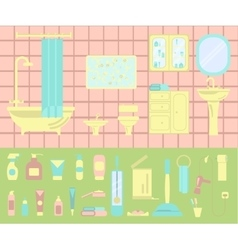 Bathroom interior and set of bath icons vector