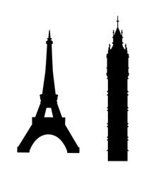 big ben and eiffel tower vector image