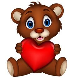 cute baby brown bear cartoon posing with heart lov vector image vector image