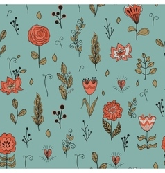 seamless floral pattern with garden flowers vector image vector image