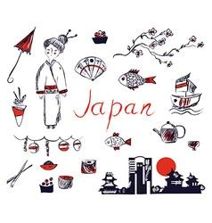 Set of Japan symbols - hand drawn design vector image vector image