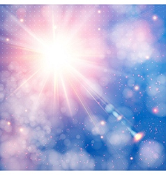 Shining sun with lens flare Soft background with vector image vector image
