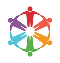 Teamwork embrace 6 group of people vector image vector image