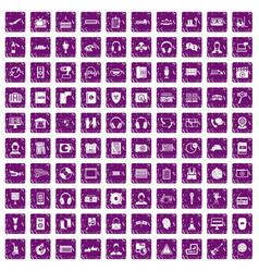 100 headphones icons set grunge purple vector image