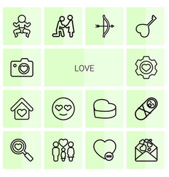 14 love icons vector image