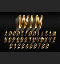 3d style golden text style effect set vector image