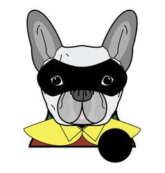 6 superhero symbol as french bulldog character vector image