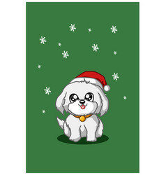A white dog wearing christmas hat on green vector