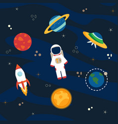 astronaut planets and space vector image