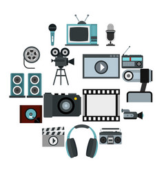 audio and video set flat style vector image
