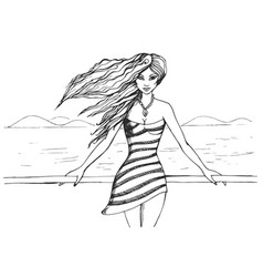 Beautiful young girl stands on promenade vector