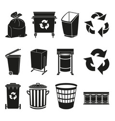 Black and white trash element silhouette vector