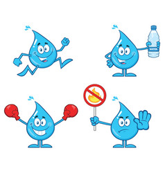 blue water drop characters collection - 4 vector image
