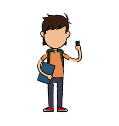 Boy cartoon student character holding book and vector