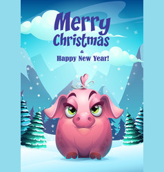bright girl pig greeting vector image
