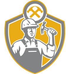 Builder Carpenter Hammer Shield Retro vector