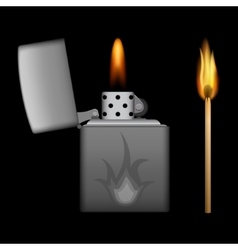 Burning metal lighter and match on background vector