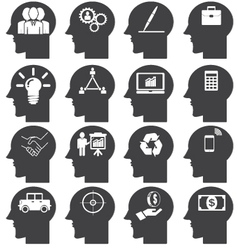 Business icons set in Head vector image vector image
