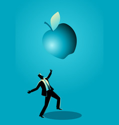 Businessman receiving a fallen big apple vector