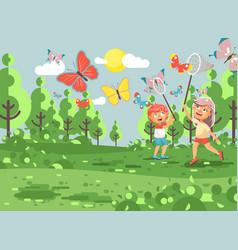 cartoon character two children vector image