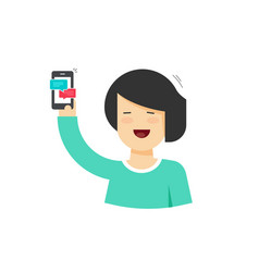 cartoon happy woman holding smartphone with vector image