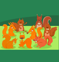 cartoon squirrels animal characters group vector image