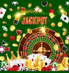 casino poker wheel fortune gamble jackpot vector image