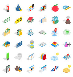 Chemistry in school icons set isometric style vector