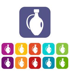 Clay jug icons set flat vector