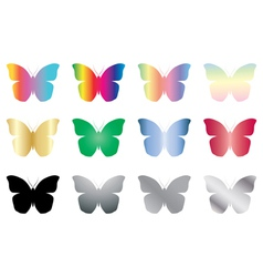 color and black butterflies vector image
