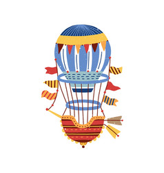 colorful vintage hot air balloon isolated on white vector image