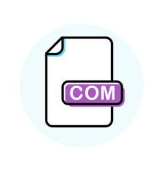 Com file format extension color line icon vector