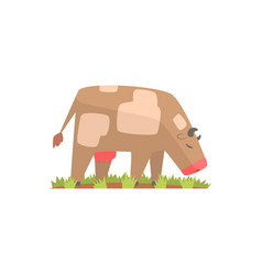 Cow grazing on a summer pasture dairy cow cartoon vector