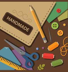 Crafting materials and tools flat vector